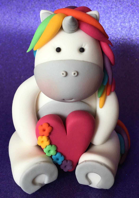 Edible 3d Fondant Unicorn Cake Topper Rainbow Heart