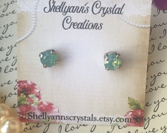 Tiny swarovski crystal earrings in antique silver