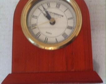 Vintage Wooden Clock, Liz Claborne, Portable Mantel Clock, Dresser Clock, Shelf Clock, 5 1/2 x 5 inches, Wooden Clock