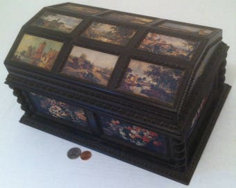 Vintage 1970's Merle Norman Large Size Jewelry Storage Box, Made in France, Musical Box, Wind up Box, 13 x 9 x 7 inches