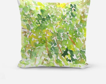 Green Gold Throw Pillow, Decorative Throw Pillow, Throw Pillows, Green Decor, Watercolor Throw Pillows, Floral Watercolor Cushions
