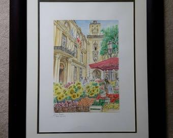 Aix En Provence - Original Watercolor Painting - France Landscape - Handmade