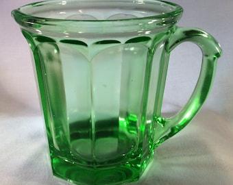 Vintage Small Vaseline Glass Pitcher - Uranium Glass