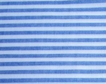 cotton fabric white with denim stripe