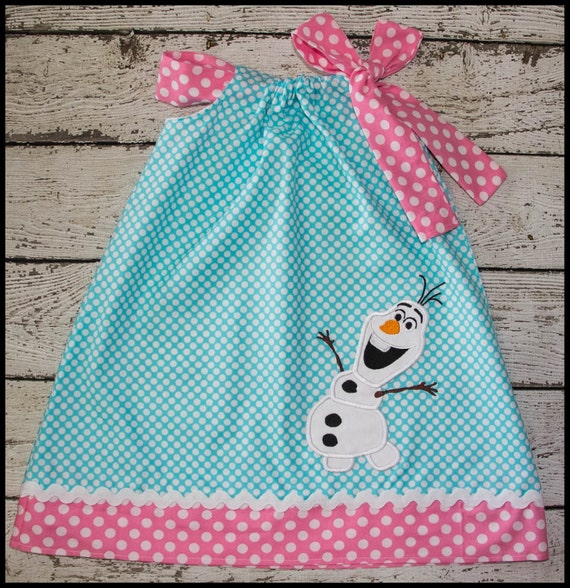NEW Super Cute Olaf Frozen Snowman Pillowcase style dress in Auqa polka dot and Pink