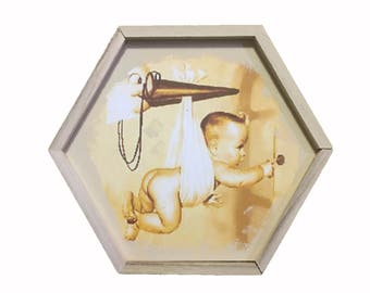 "Baby Vintage Keepsake"" Stork"" Wood Box"