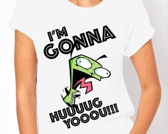 "Invader Zim: Gir ""I'm Gonna Hug You!"" Nick Toons Women's T Shirt"