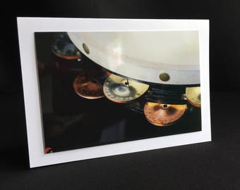 Greeting card tambourine-percussion-fine art photo-A6 format-with envelope-blank inside-for music lovers