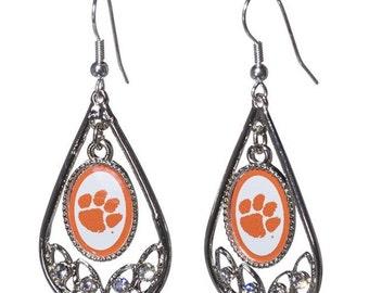 Clemson Earrings, Clemson Jewelry, Tiger Jewelry, Tiger Earrings