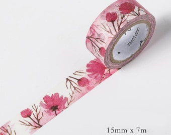Lady Pink Floral Flowers Washi Tape