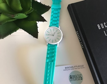 Mint Green & White Large Face Watch