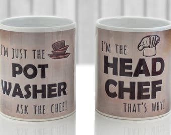 Head Chef and Pot Washer 2 mug set. Funny gift for any couple in rustic coffee colored design.