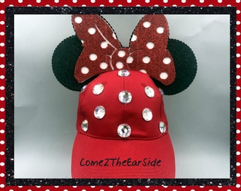 Custom Minnie Ears Hat Custom Mickey Ears Hat Mickey Baseball Cap Mickey Baseball Hat Minnie Bow Disney Minnie Ears Mickey Ears Baseball Cap