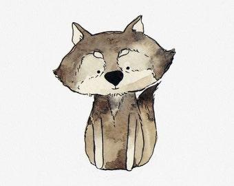 Wolf nursery art print, baby forest animal print, woodland nursery artwork, baby wolf print, forest nursery art, woodland animal wallart