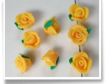 Lot of 15 rose fimo 1 cm