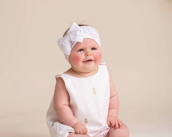 Toddler 1/2 (12-24 mo) Reversible Pinafore/Top/Dress Ivory and Gold Pineapple & Blush and Gold Flamingo Feat. w/Blush Flamingo Bloomers