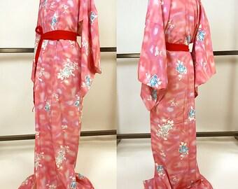 K061 Beautiful Japanese Kyo-Yuzen Pink Komon Kimono Cute