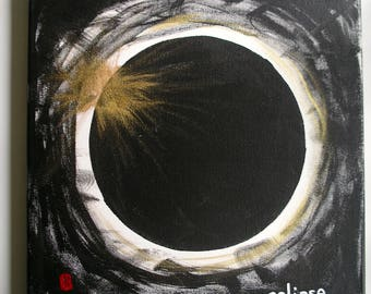 "Solar Eclipse Painting Black and White and Gold calligraphy red chop name 12x12"" original painting eclipse art black moon darkness movement"