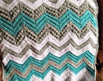 Tons of Texture Crochet Chevron Baby Blanket PATTERN PDF instant digital download