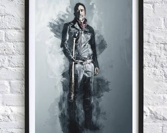 The Walking Dead - Negan  'Watercolor' A4 Print