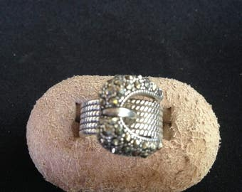 Sterling Marcasite Buckle Ring