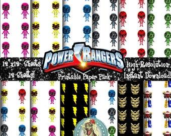POWER RANGERS, Power Ranger Birthday, Power Ranger Party, Power Ranger Helmet, Power Ranger Morpher, Power Ranger Clipart, Scrapbook Paper