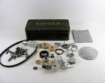 Vintage Singer Metal Needle And Parts Box With Spare Parts