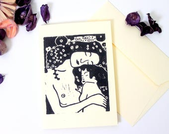 Klimt Mother and Child print card, mothers day card,  Gustav Klimt print, lino print card, block printed postcard, the three ages of woman