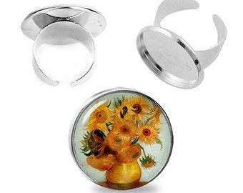 Van Gogh Sunflowers Ring Adjustable ring Van Gogh Ring Van Gogh Jewelry