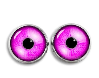Pink Eyes Stud Earrings Eyes 12mm Earrings Fandom Jewelry Geeky Fangirl Fanboy