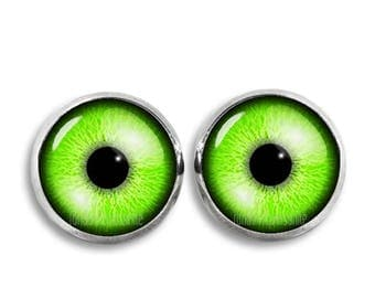 Green Eyes Stud Earrings Eyes 12mm Earrings Fandom Jewelry Kawaii Geeky Fangirl Fanboy