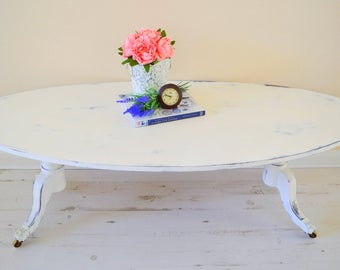 White Coffee Table, Brass Claw Feet, Shabby Chic Coffee Table, Farmhouse  Long Coffee