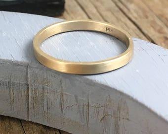 Gold Wedding Band  - 14k Gold Wedding Band - 2 mm x 1 mm gold band