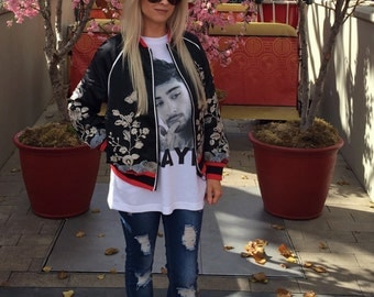 Embroidery floral bomber jacket