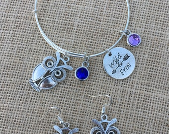 Wild and Free Owl Jewelry Set - Adjustable Silver Plated Bangle Charm Bracelet AND Owl Earrings, Birthstone, Jewelry Set