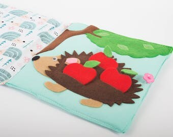 Sensory Quiet Book Page Montessori Activity Page Hedhehog and Apples