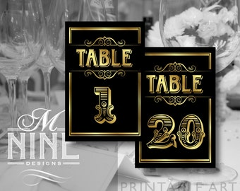 Black and Gold Printable TABLE NUMBERS 1-20 Vintage Party Download Table Number Signs, Party Decor, Vintage Wedding Décor BWBG38