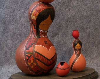 Fine Gourd Art - Mother and Child