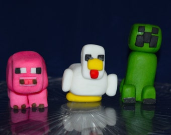 Handmade Edible Minecraft Inspired Cake Topper Figurines