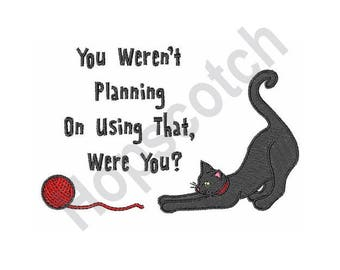 Cat And Yarn  - Machine Embroidery Design