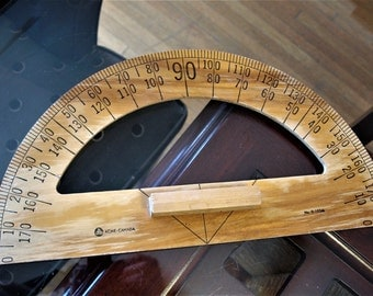 ACME-CANADA  No. D-103M Blackboard Protractor Drafting Tool - Vintage Mid Century Teaching Tool – Wooden with natural Lacquer Finish