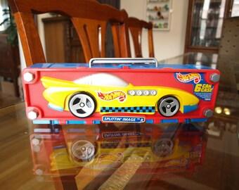"Hot Wheels 6 Car Carrying Case 10"" x 3"" Splittin Image II Yellow F3"