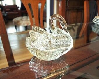 Vintage Clear Glass Swan Dish With Lid for Candy, Trinkets or Jewelry
