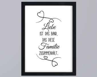Love is the bond that holds together this family - unframed art print