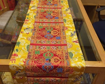 Tibetan Large double dorji silk brocade Shrine/table/cover/cloth/runner/185 cm