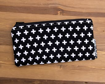 Black and White Pouch Wallet - Change Purse - Coin Purse  - Coin Wallet - Mini Wallet - Travel Wallet - Womens Wallet