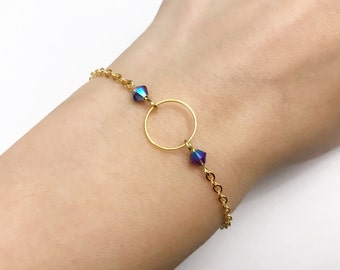 Bracelet with Swarovski pearls and chain ring gold