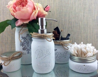 Set of 5 Mason Jars With Soap Dispenser-Painted Mason Jar-Country Chic Decor-Bathroom-Cottage Chic