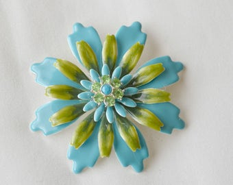Aqua Blue and Lime Green Flower Brooch