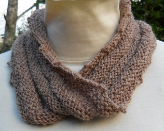 unisex hand knit cozy light brown mobius cowl